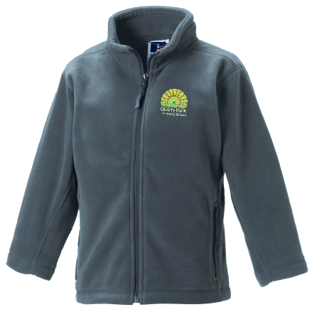 Grey Childs Fleece, full zip, embroidered with School logo