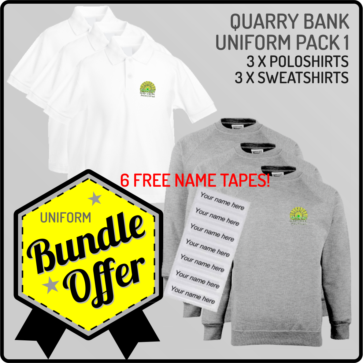 Bundle offer of 3 Crew Neck Sweatshirts & 3 Poloshirts - INCLUDES FREE NAME TAPES