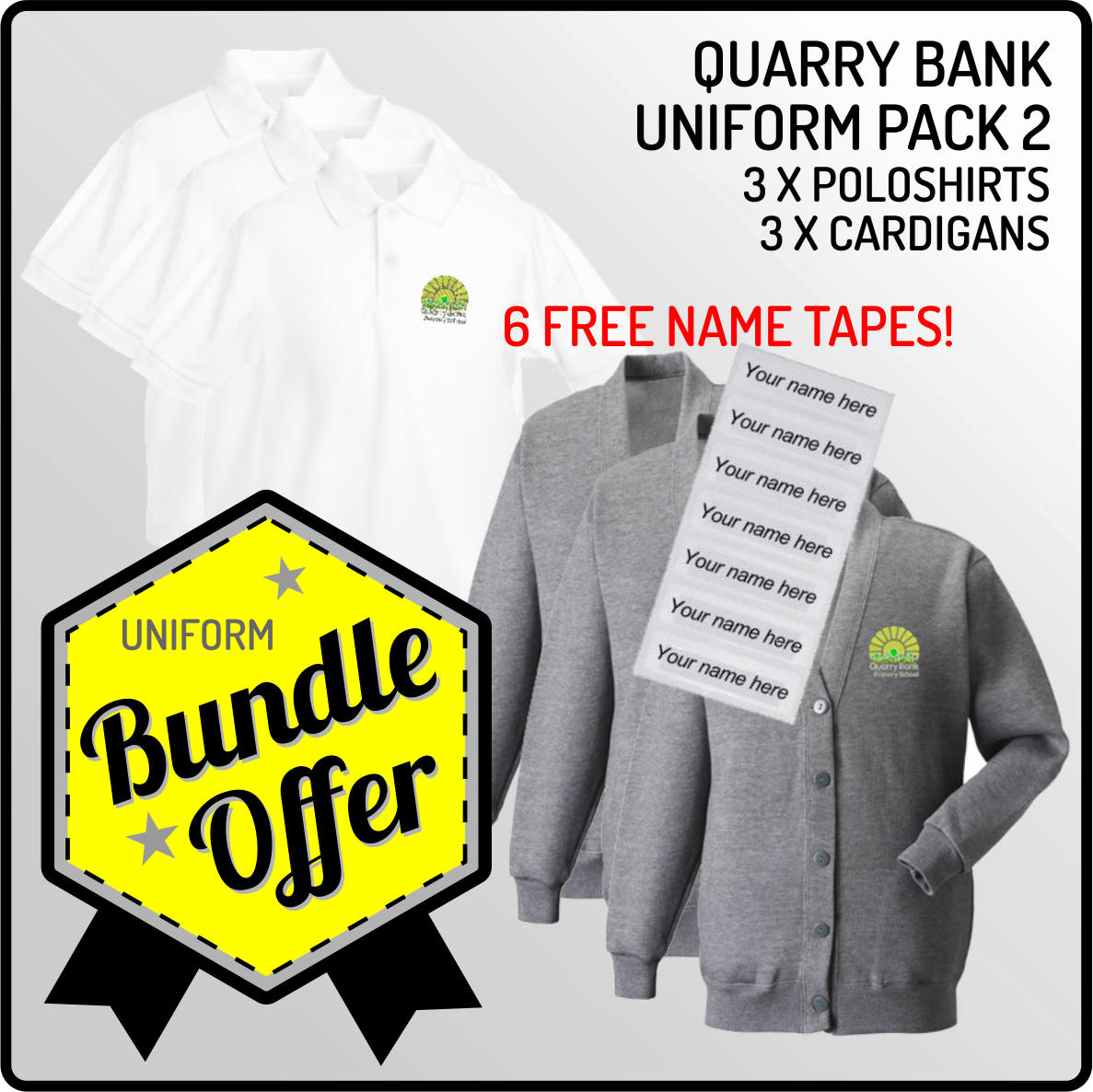 Bundle offer of 3 Cardigans  & 3 Poloshirts - INCLUDES FREE NAME TAPES