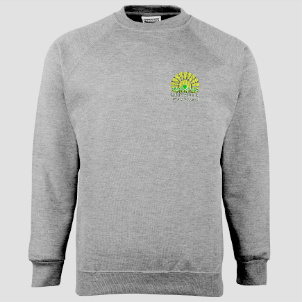 Grey Childs Crew neck sweatshirt, embroidered with School logo