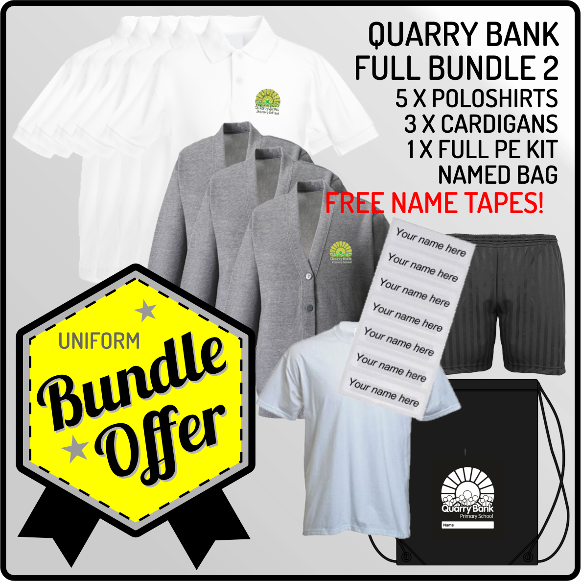 Bundle offer of 5 Poloshrts, 3 Cardigans, PE T, Shorts and PE Bag - INCLUDES FREE NAME TAPES