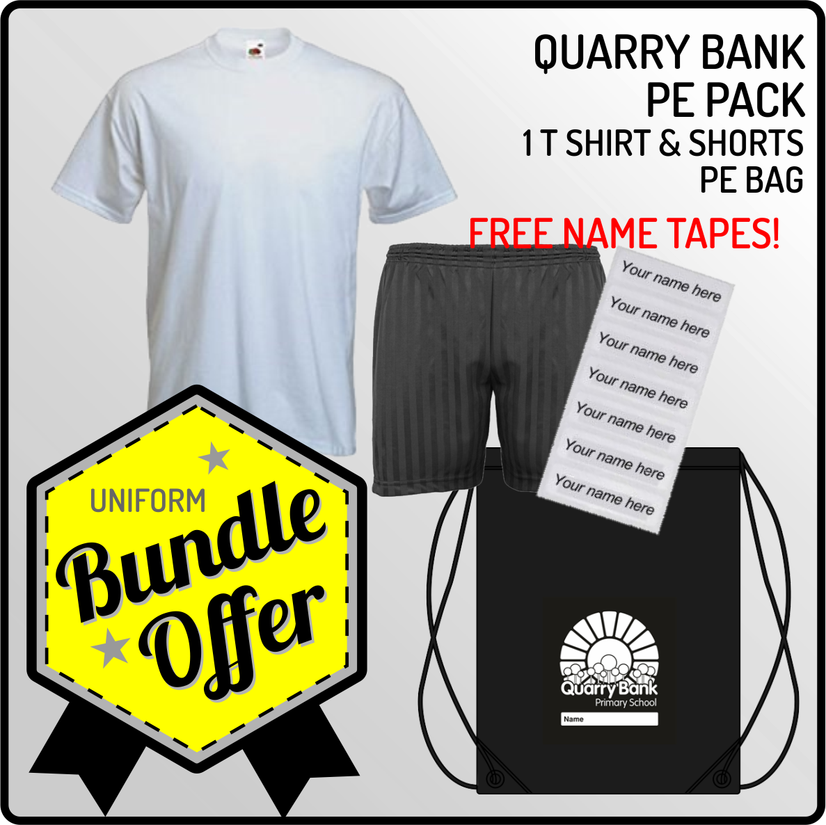 Bundle offer of T Shirt, Shorts and a PE Bag! - INCLUDES FREE NAME TAPES