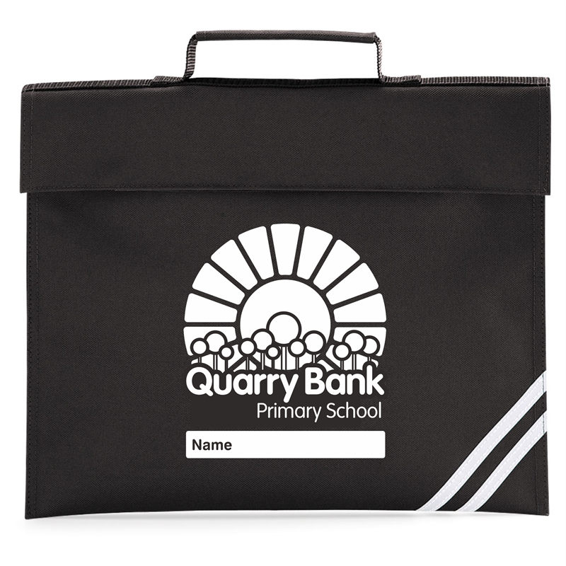Black Book Bag with School logo printed to one side, area for childs name included