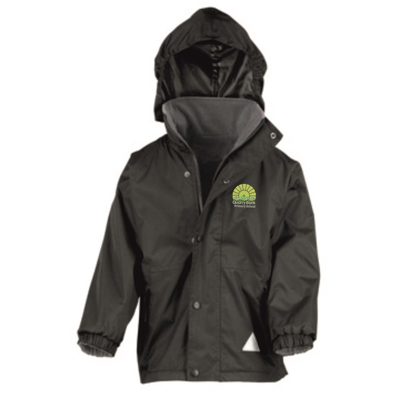 Black Childs Reversible Waterproof Jacket, Fleece inner with School logo embroidered