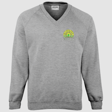 Grey Childs V neck sweatshirt, embroidered with School logo