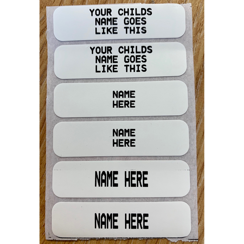 By ironing in our printed iron-on labels, your childs uniform and sports kit can be identified easily and efficiently. Up to 3 lines of text. A tough label with a strong heat seal adhesive on the reverse, which can be applied to clothing with a household iron.